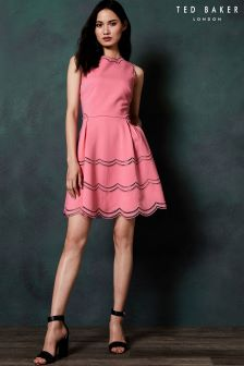 Ted Baker Cammey Coral Tiered Cut Out Scallop Skater Dress