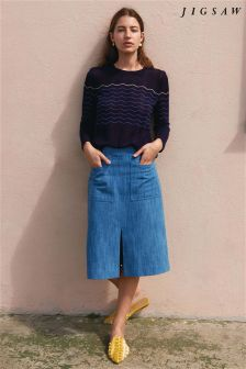 Jigsaw Blue Denim Pencil Skirt