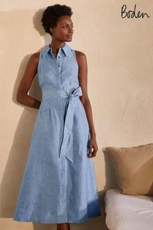 Boden Blue Kate Linen Shirt Dress