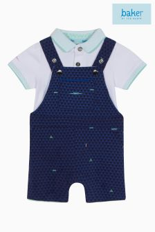 baker by Ted Baker Blue Dungaree And Polo Set