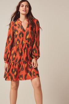 Tiered V-Neck Mini Dress