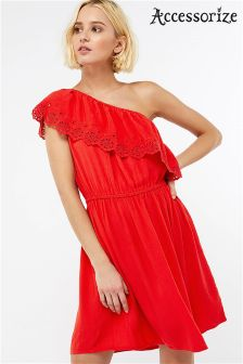 Accessorize Red Asymmetric Off Shoulder Dress