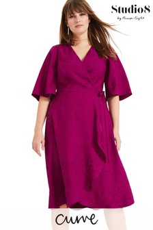 Studio 8 Purple Nola Wrap Jacquard Dress