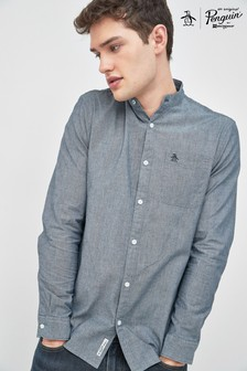 Original Penguin® Blue Long Sleeve Collarless Chambray Shirt