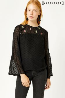Warehouse Black Snowdrop Embroidered Top
