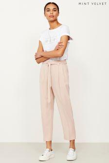 Mint Velvet Pink Belted Tapered Trouser