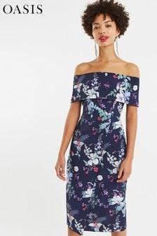 Oasis Blue Bloom Bardot Pencil Dress