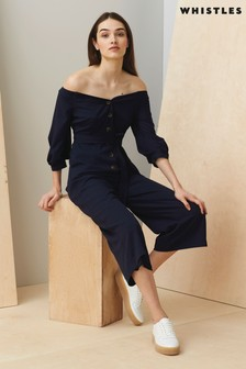 Whistles Carina Navy Off Shoulder Jumpsuit