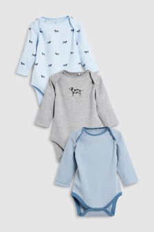 Delicate Dog Long Sleeve Bodysuits Three Pack (0mths-2yrs)