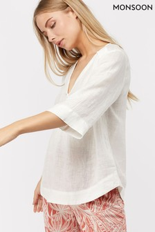 Monsoon Ladies White Heidi Linen Gauze Top