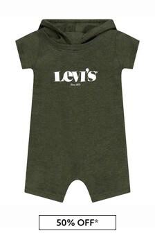Levis Kidswear Baby Boys Green Cotton Shortie Romper