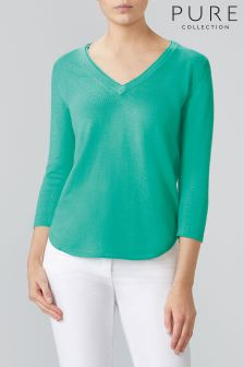 Pure Collection Green Double V-Neck Sweater