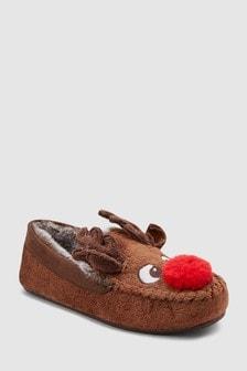 נעלי מוקסין עם דוגמת איילים (נוער)
