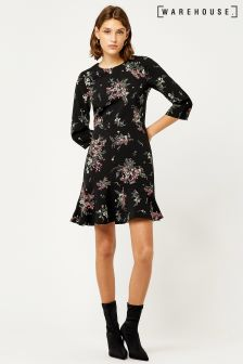 Warehouse Black Marianne Spaced Floral Dress