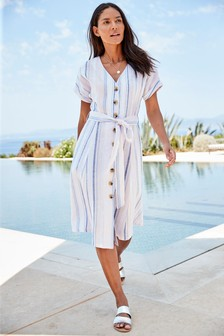 Linen Button Through Dress