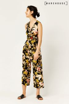 Warehouse Black Hibiscus Tie Side Jumpsuit