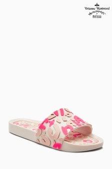 Vivienne Westwood Pink Contrast Leopard Beach Slider