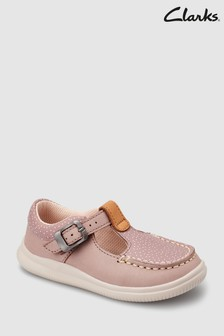 Clarks getupfte First Shoe Cloud Rosa Schuhe mit T-Steg, Pink