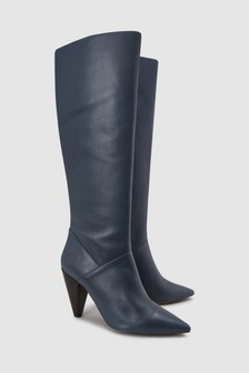 Cone Heel Knee High Boots