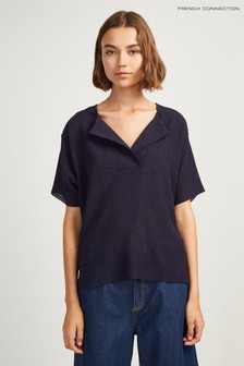French Connection Blue Rosette Jersey Sleeve Tee