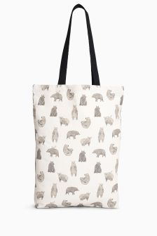 Bear Print Shopper Bag