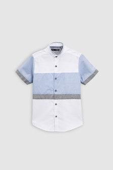 Short Sleeve Blue Colourblock Shirt (3-16yrs)