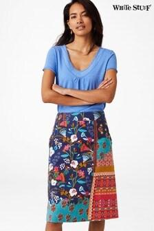 White Stuff Blue Patchwork Print Skirt