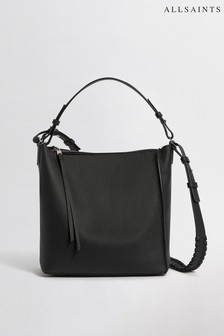 AllSaints Black Leather Kita Shoulder Multiway Bag