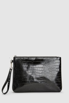 Croc Effect Zip Top Clutch Bag
