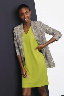 Sleeveless V-Neck Jersey Shift Dress