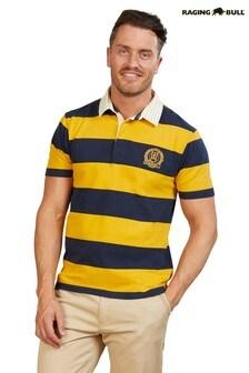 Raging Bull Blue Block Stripe Rugby Shirt