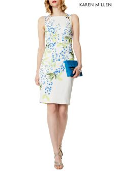 Karen Millen White Wisteria Print Stretch Dress