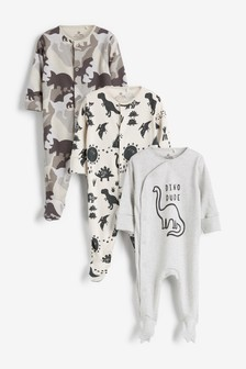 3 Pack Dino Slogan Sleepsuits (0mths-2yrs)