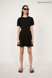 Warehouse Black Button Through Mini Skirt