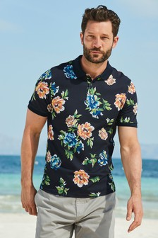 Bright Floral Print Polo