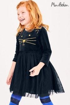 Boden Blue Velvet Novelty Dress