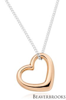 Beaverbrooks Silver Rose Gold Plated Heart Pendant