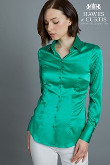 Hawes & Curtis Blue Green Fitted Satin Shirt