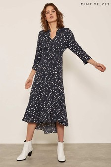Mint Velvet Black Star Print Shirt Dress