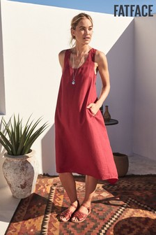 FatFace Red Lola Linen Blend Dress