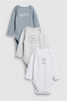 Slogan Long Sleeved Bodysuits Three Pack (0mths-2yrs)