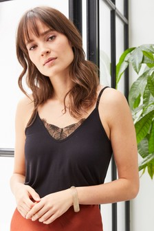 Lace Detail Jersey Cami Top