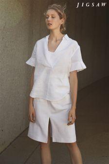 Jigsaw White Denim Pencil Skirt