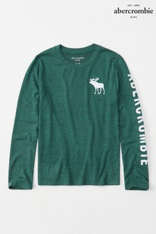Abercrombie & Fitch Green Moose Long Sleeve Tee
