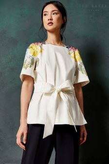 Ted Baker Bonnay White Tie Waist Floral Blouse