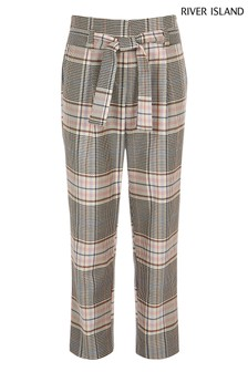 River Island Pink/Brown Check Trouser