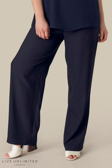 Live Unlimited Navy Satin Trouser