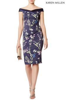 Karen Millen Blue Botanical Trailing Floral Dress