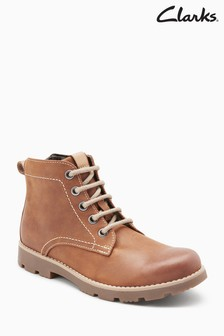 Clarks Tan Leather Comet Rock Lace-Up Stitch Ankle Boot