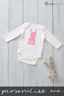 Personalised Flock Printed Named Bunny Design Long Sleeved Bodysuit by Loveabode